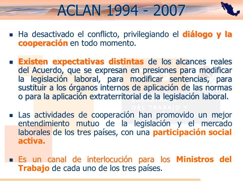 ACLAN 1994 - 2007Ha desactivado el conflicto, privilegiando el diálogo y la cooperación en todo momento.