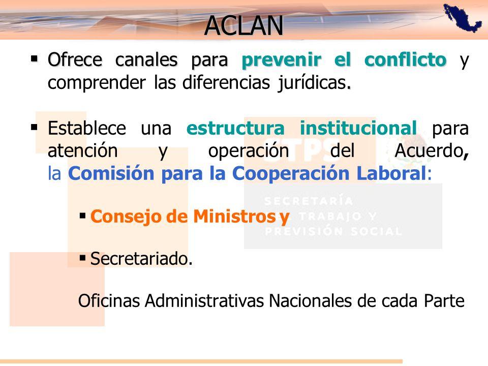 ACLAN Ofrece canales para prevenir el conflicto y comprender las diferencias jurídicas.