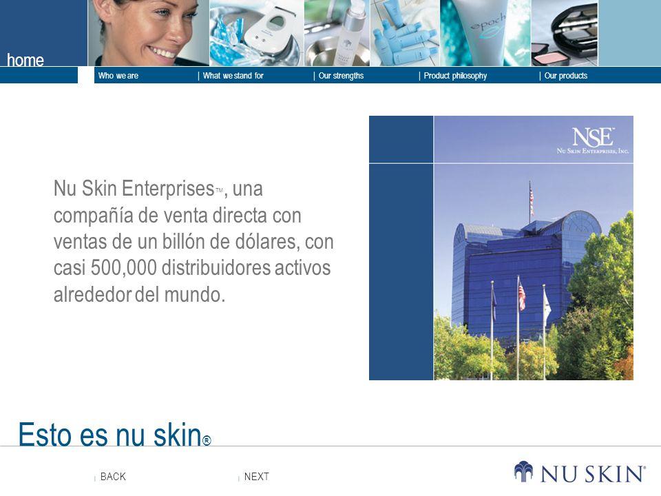 Nu Skin Enterprises™, una compañía de venta directa con ventas de un billón de dólares, con casi 500,000 distribuidores activos alrededor del mundo.