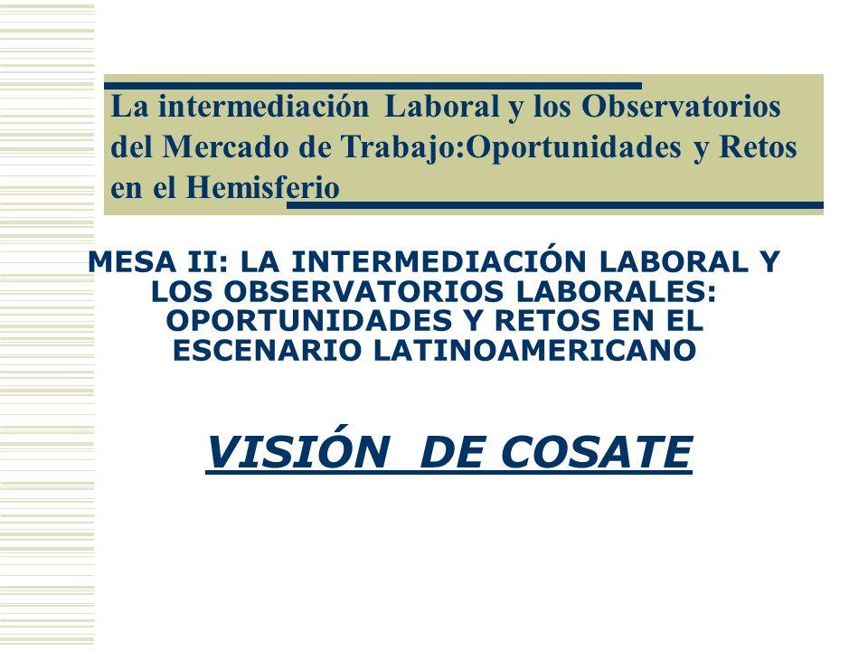 La intermediación Laboral y los Observatorios del Mercado de Trabajo:Oportunidades y Retos en el Hemisferio