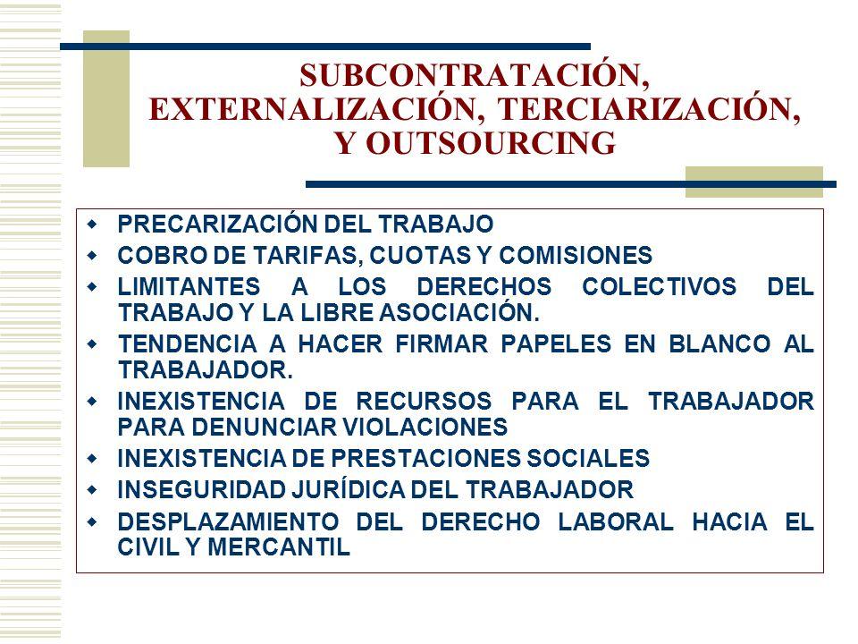 SUBCONTRATACIÓN, EXTERNALIZACIÓN, TERCIARIZACIÓN, Y OUTSOURCING