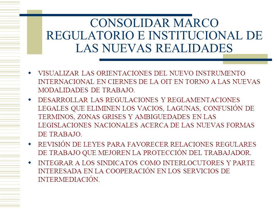 CONSOLIDAR MARCO REGULATORIO E INSTITUCIONAL DE LAS NUEVAS REALIDADES