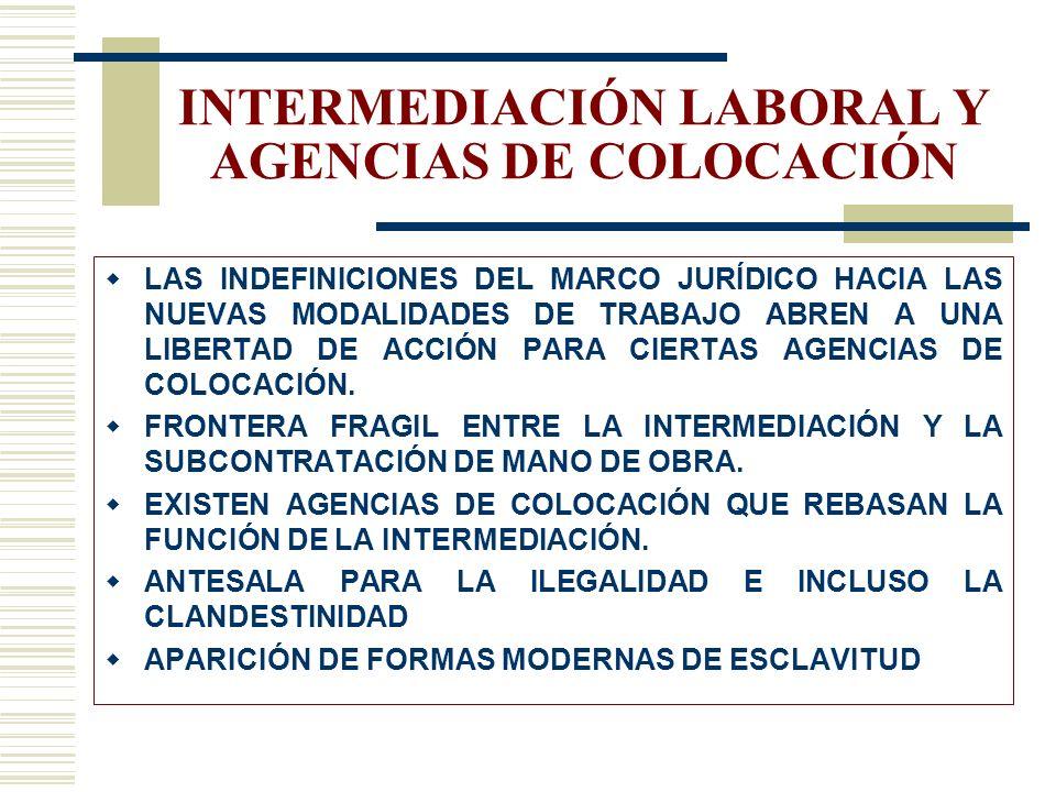 INTERMEDIACIÓN LABORAL Y AGENCIAS DE COLOCACIÓN