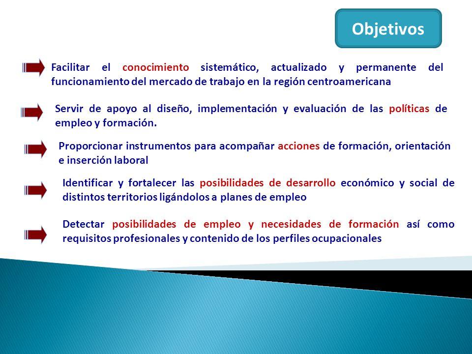 Objetivos Facilitar el conocimiento sistemático, actualizado y permanente del funcionamiento del mercado de trabajo en la región centroamericana.