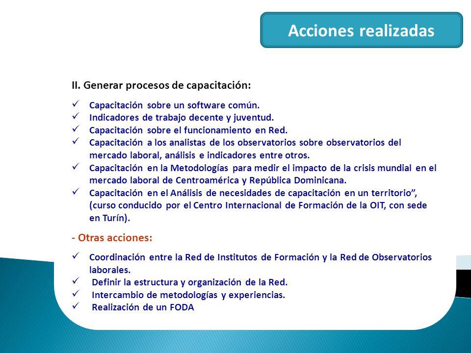 Acciones realizadas II. Generar procesos de capacitación: