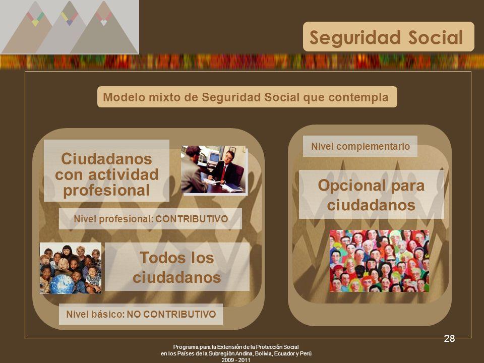 Seguridad Social Ciudadanos con actividad profesional
