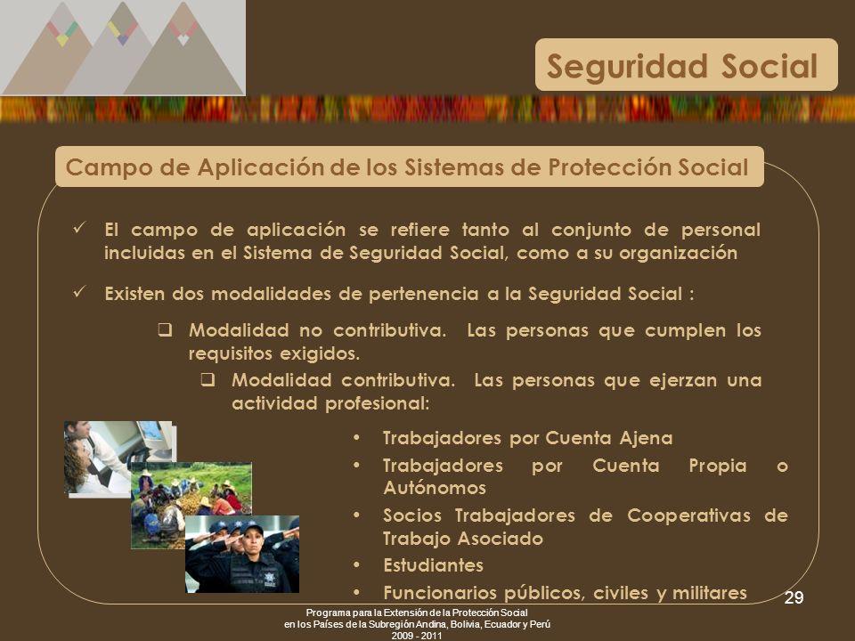 Seguridad SocialCampo de Aplicación de los Sistemas de Protección Social.