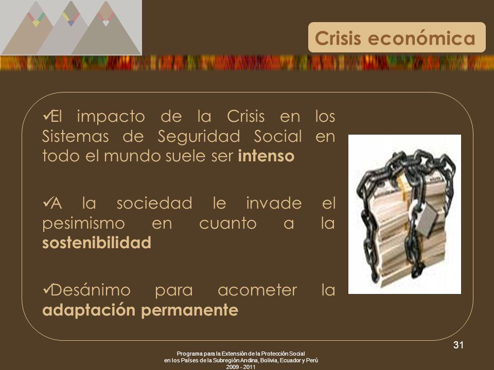 Crisis económicaEl impacto de la Crisis en los Sistemas de Seguridad Social en todo el mundo suele ser intenso.