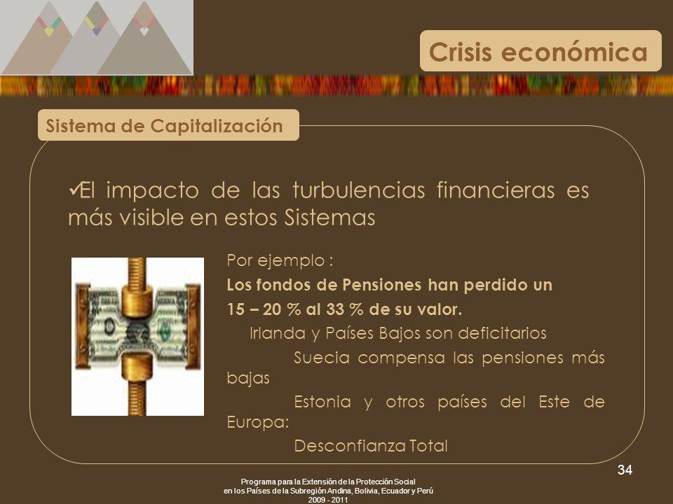 Crisis económica Sistema de Capitalización. El impacto de las turbulencias financieras es más visible en estos Sistemas.