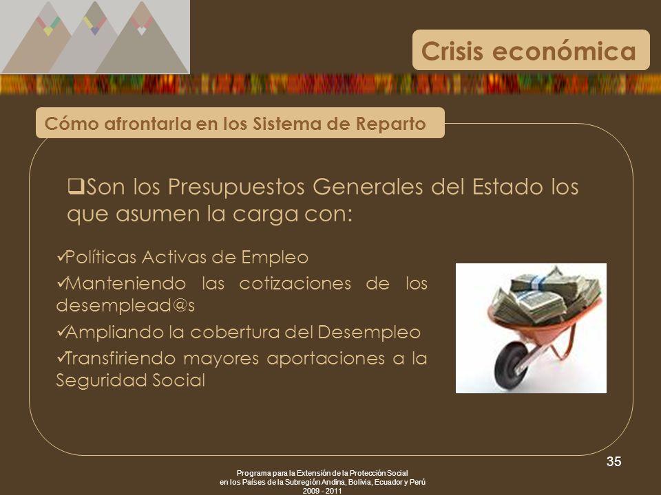 Crisis económica Cómo afrontarla en los Sistema de Reparto. Son los Presupuestos Generales del Estado los que asumen la carga con: