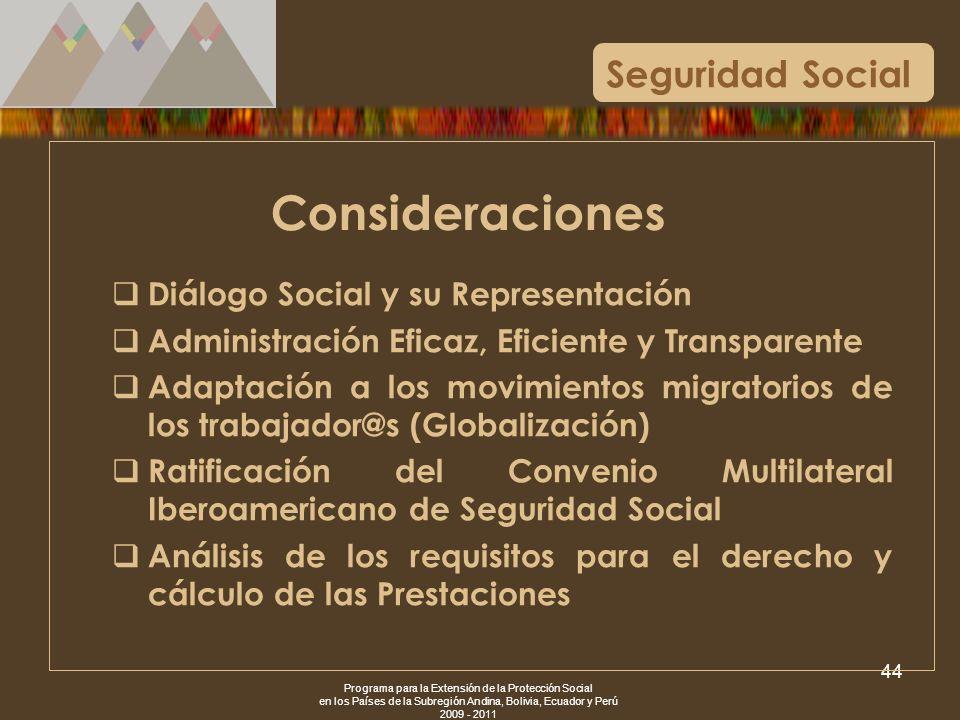 Consideraciones Seguridad Social Diálogo Social y su Representación