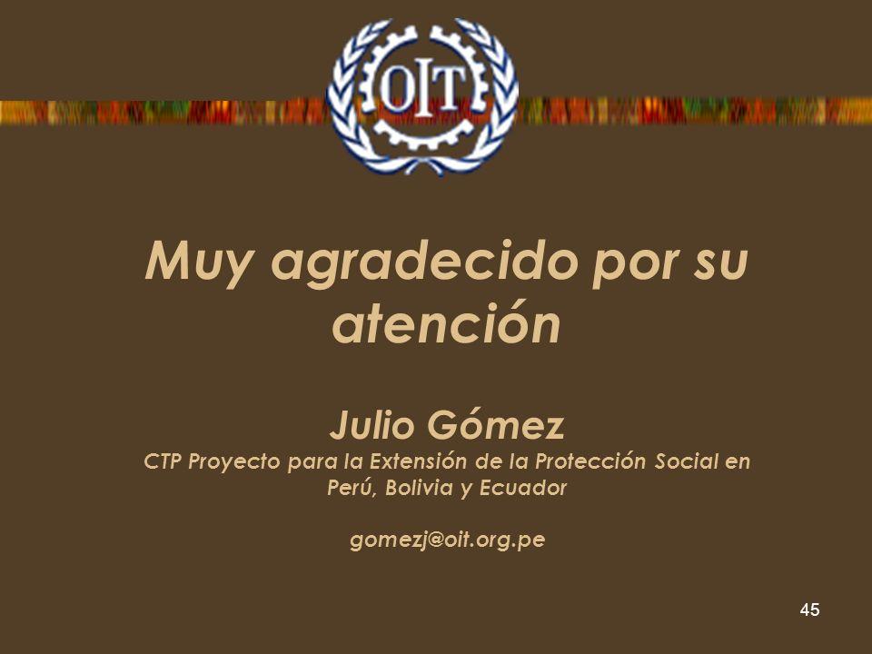 Muy agradecido por su atención Julio Gómez CTP Proyecto para la Extensión de la Protección Social en Perú, Bolivia y Ecuador gomezj@oit.org.pe