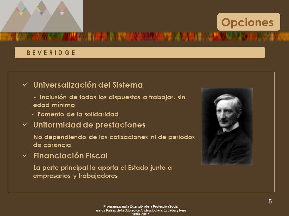 Opciones Universalización del Sistema