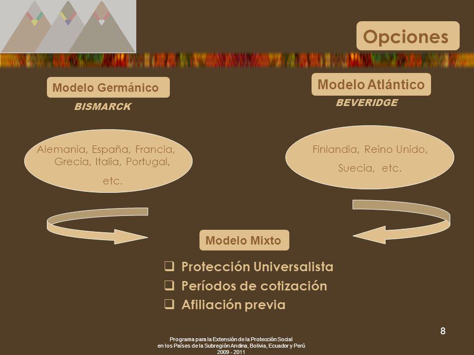 Opciones Modelo Atlántico Protección Universalista