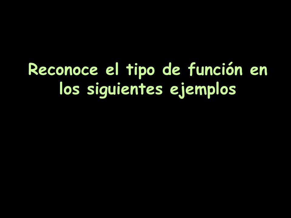Reconoce el tipo de función en los siguientes ejemplos