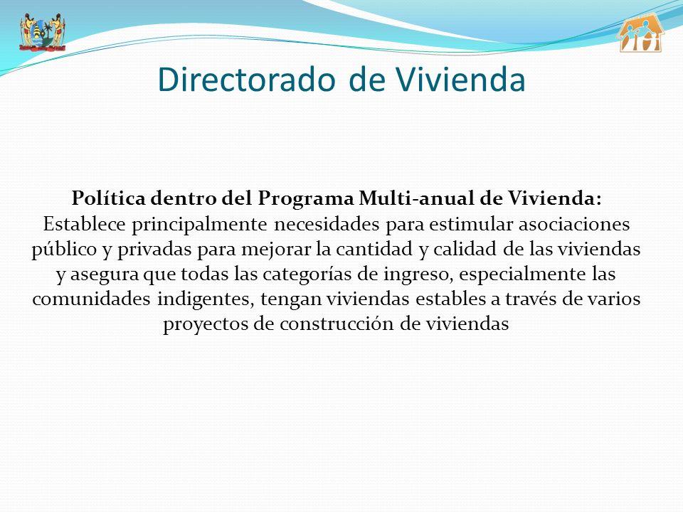 Política dentro del Programa Multi-anual de Vivienda: