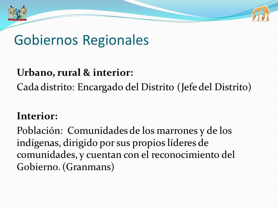 Gobiernos Regionales Urbano, rural & interior: