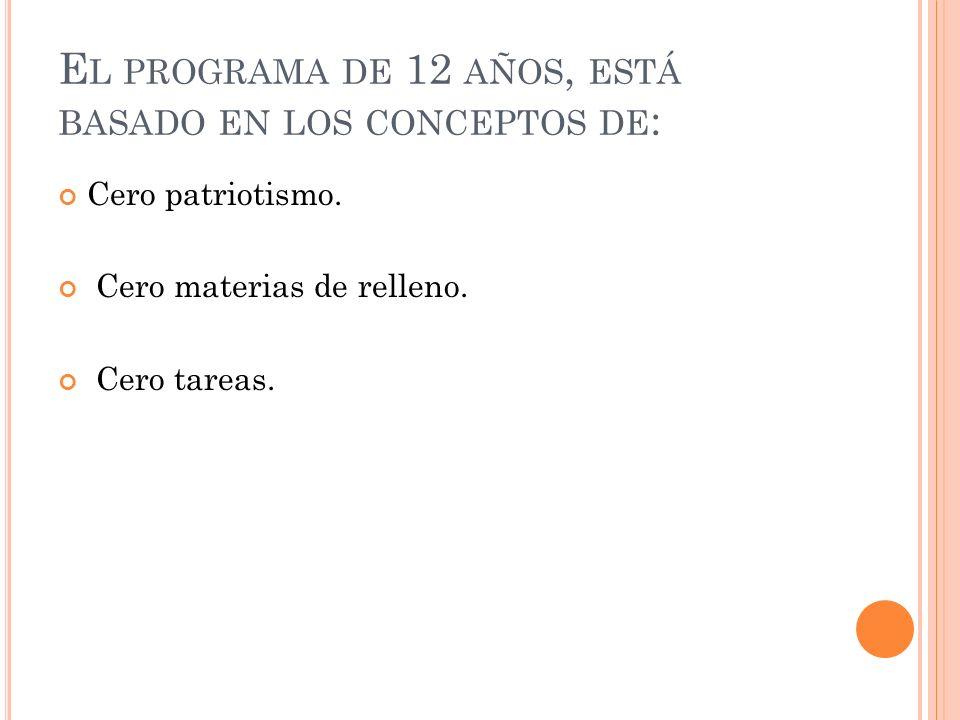El programa de 12 años, está basado en los conceptos de: