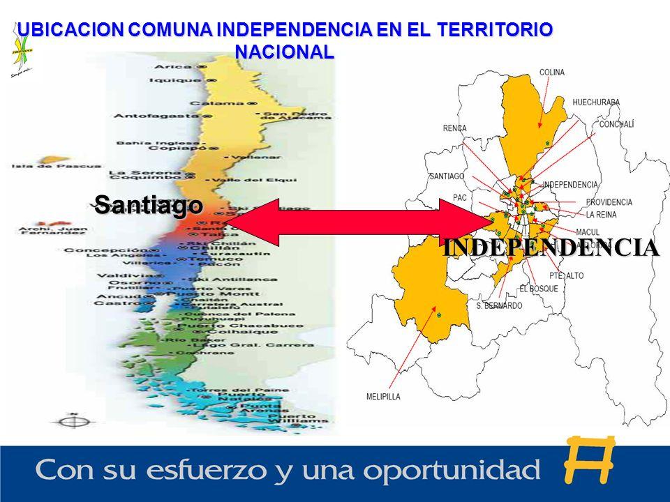 UBICACION COMUNA INDEPENDENCIA EN EL TERRITORIO NACIONAL