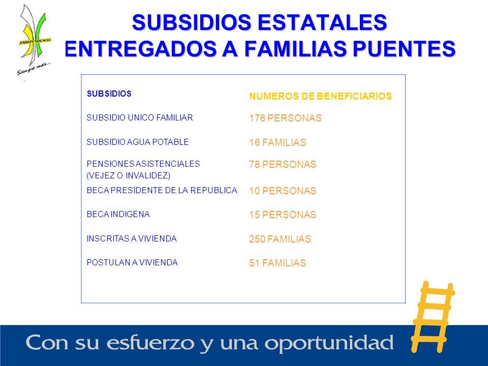 SUBSIDIOS ESTATALES ENTREGADOS A FAMILIAS PUENTES