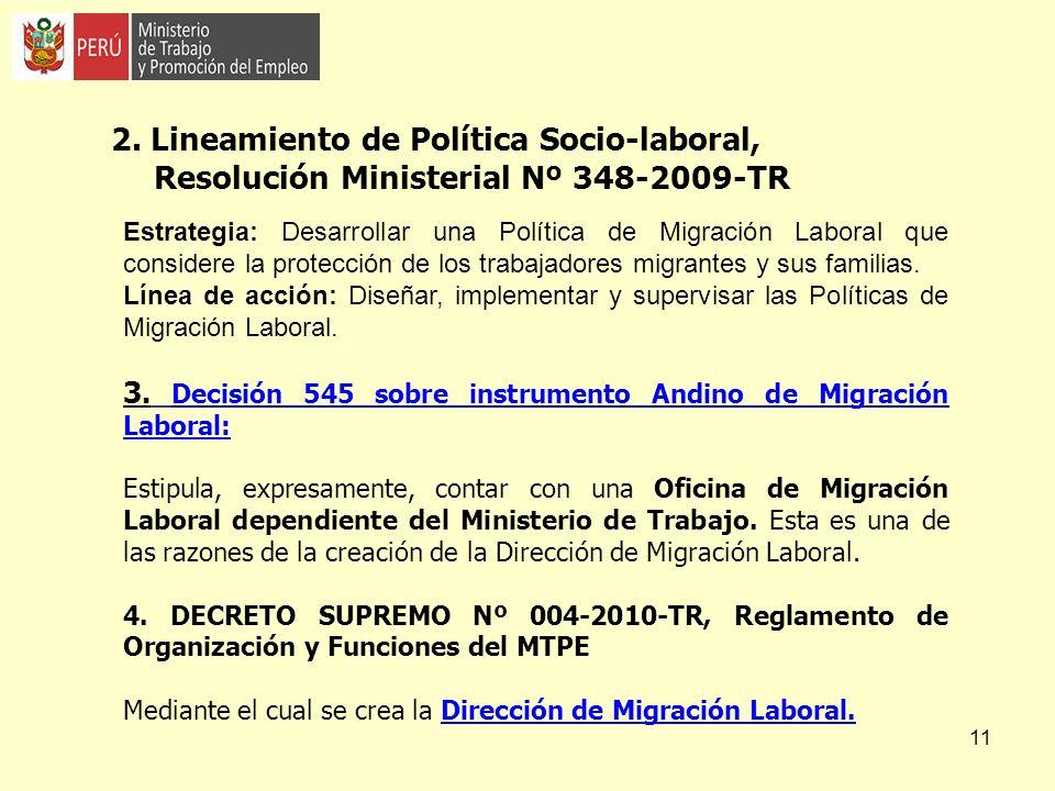 2. Lineamiento de Política Socio-laboral, Resolución Ministerial Nº 348-2009-TR