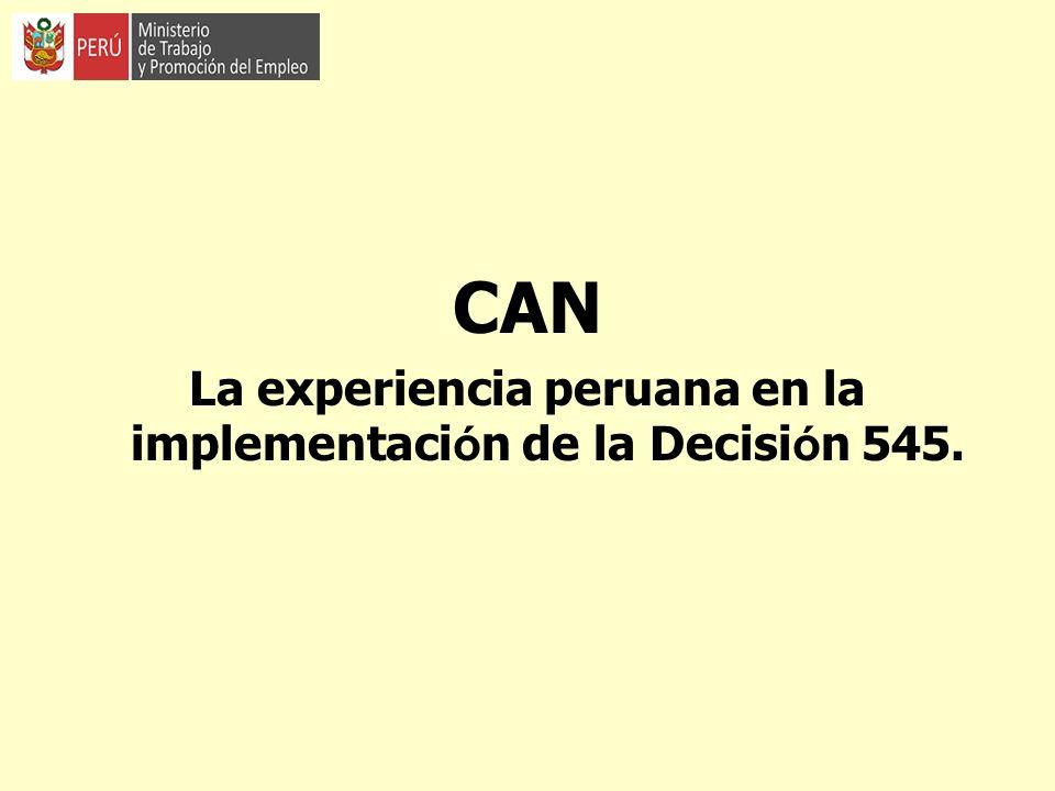 La experiencia peruana en la implementación de la Decisión 545.