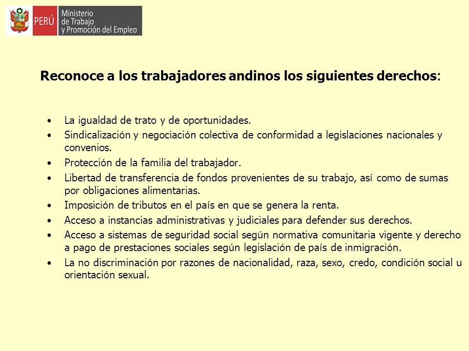 Reconoce a los trabajadores andinos los siguientes derechos: