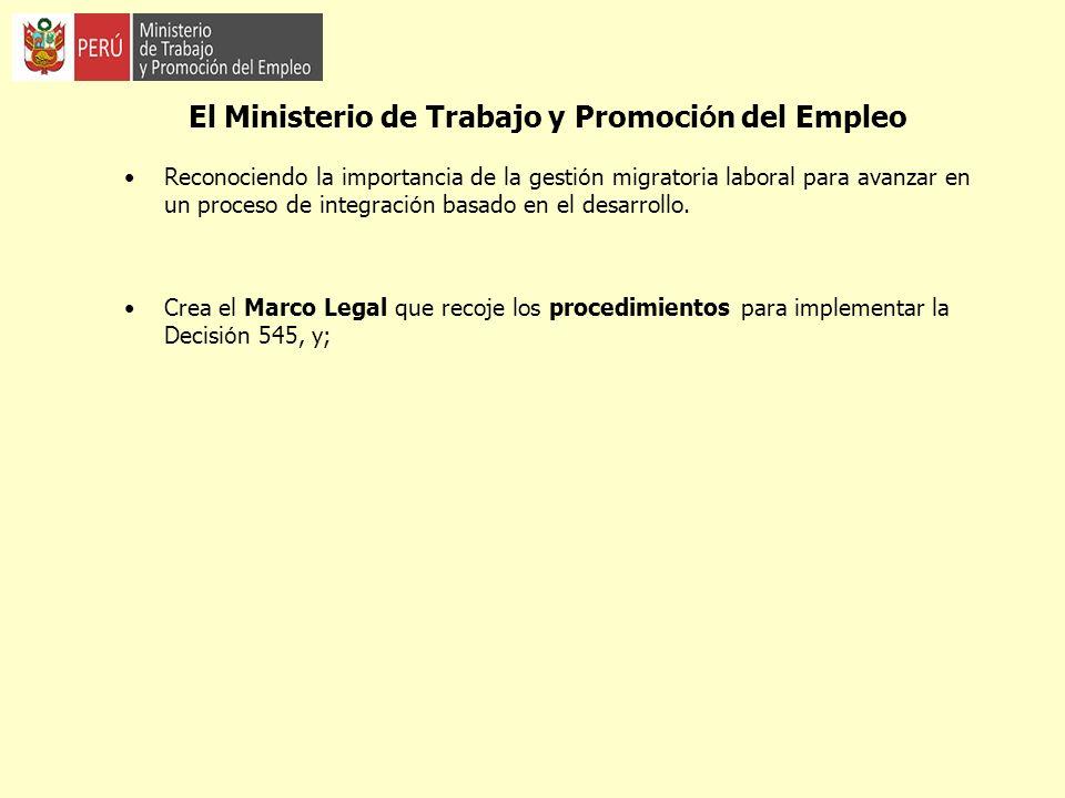 El Ministerio de Trabajo y Promoción del Empleo