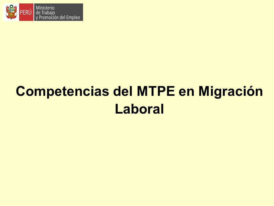 Competencias del MTPE en Migración Laboral