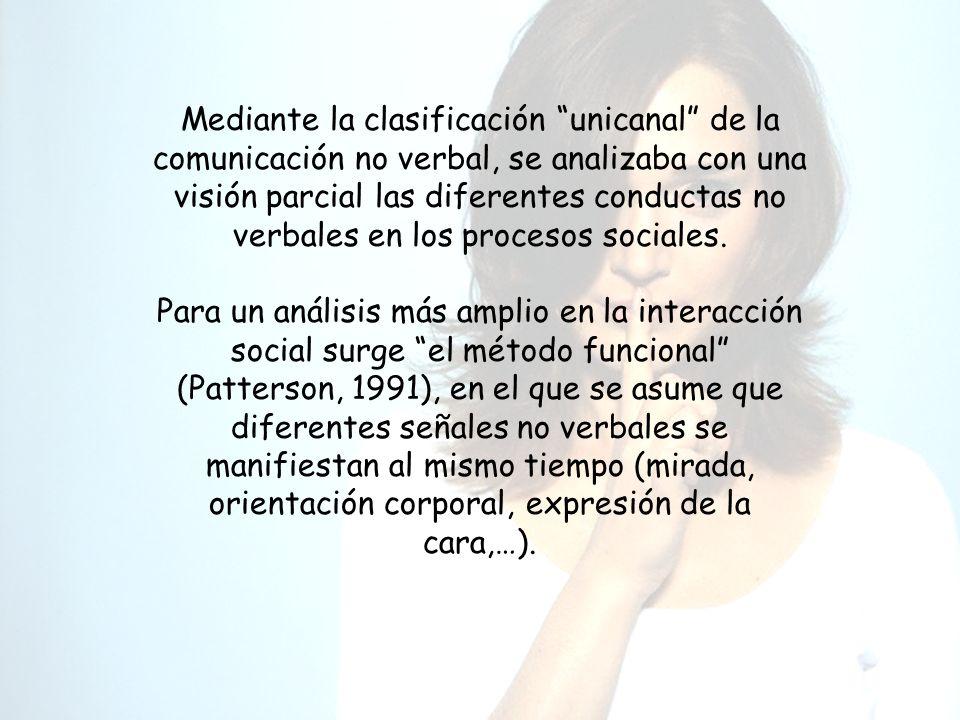 Mediante la clasificación unicanal de la comunicación no verbal, se analizaba con una visión parcial las diferentes conductas no verbales en los procesos sociales.