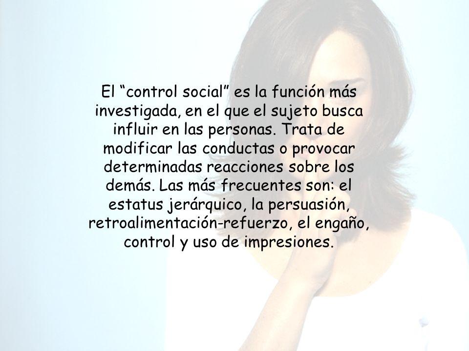 El control social es la función más investigada, en el que el sujeto busca influir en las personas.