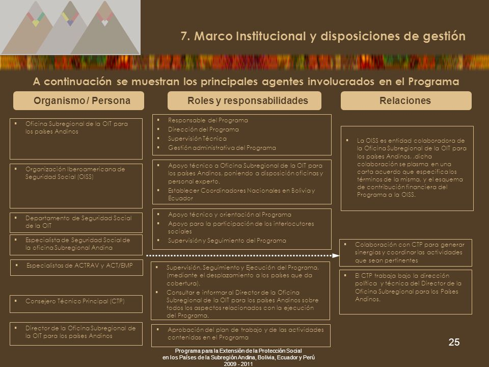 7. Marco Institucional y disposiciones de gestión