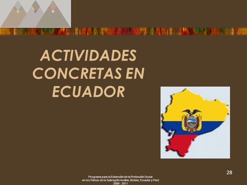 ACTIVIDADES CONCRETAS EN ECUADOR