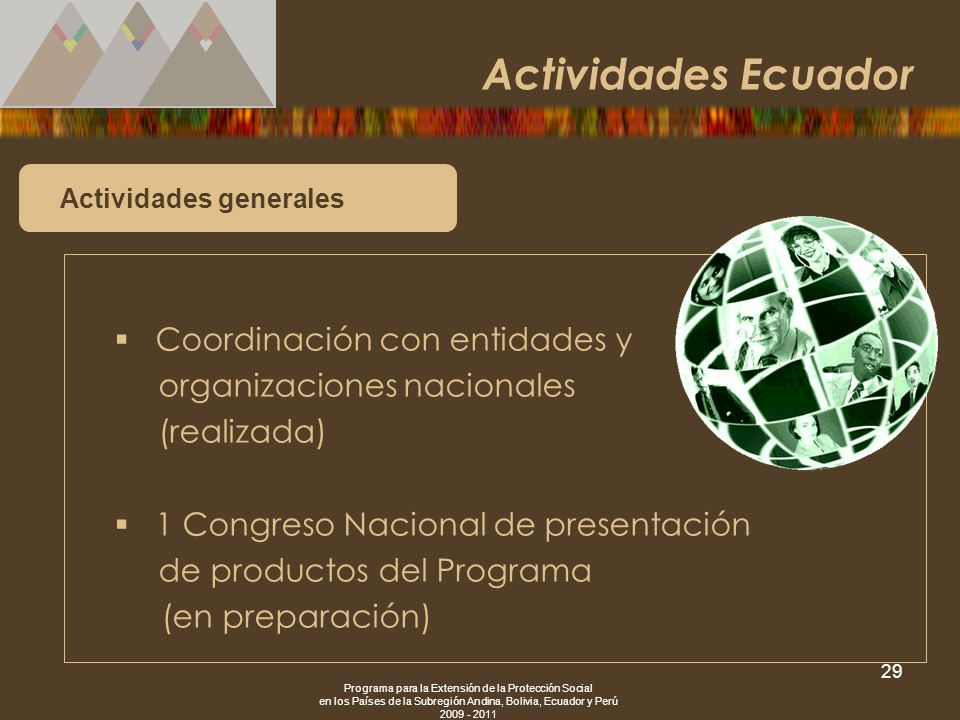 Actividades Ecuador Coordinación con entidades y