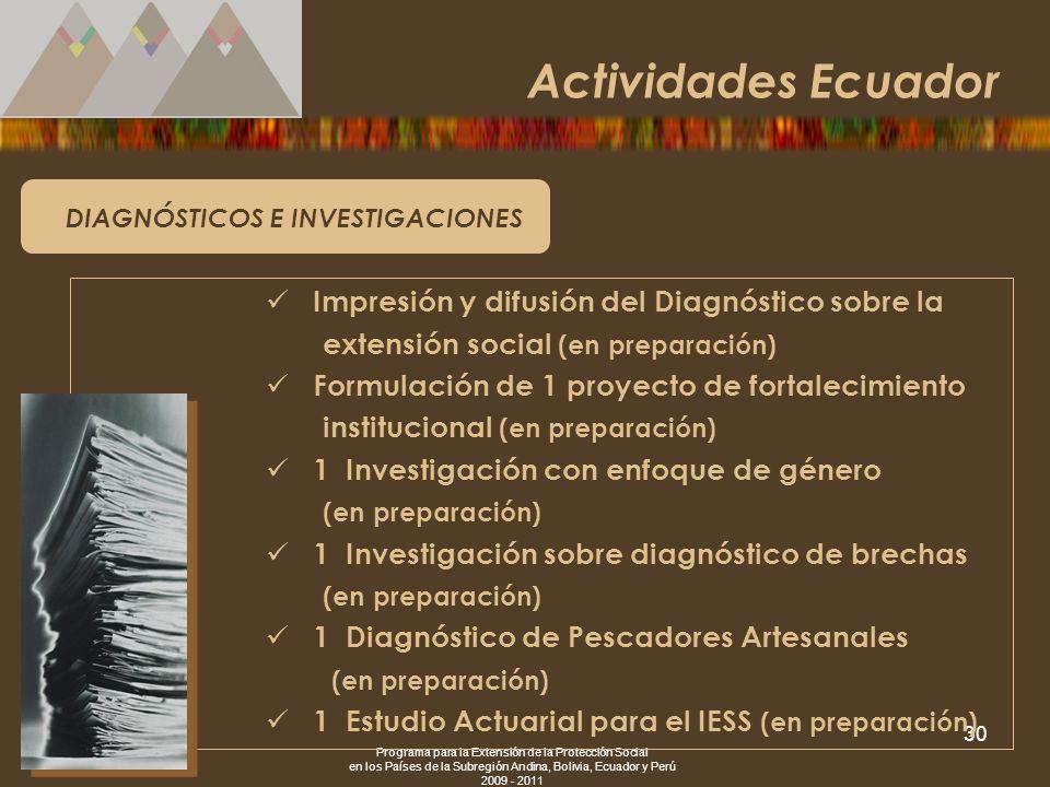 Actividades Ecuador Impresión y difusión del Diagnóstico sobre la