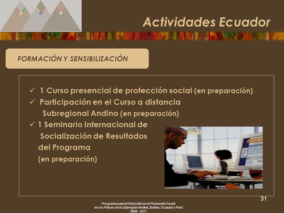 Actividades Ecuador FORMACIÓN Y SENSIBILIZACIÓN. 1 Curso presencial de protección social (en preparación)