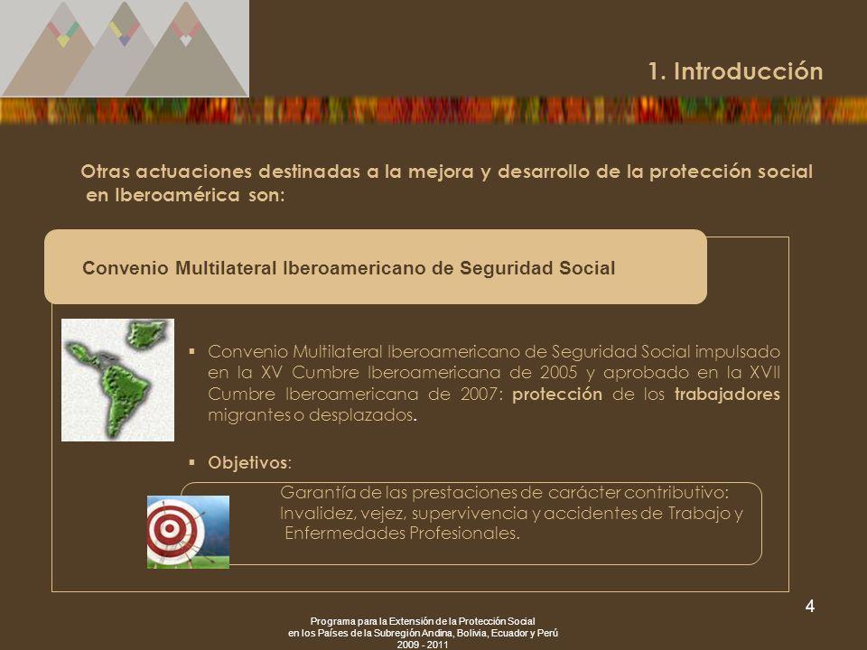 1. Introducción Otras actuaciones destinadas a la mejora y desarrollo de la protección social en Iberoamérica son: