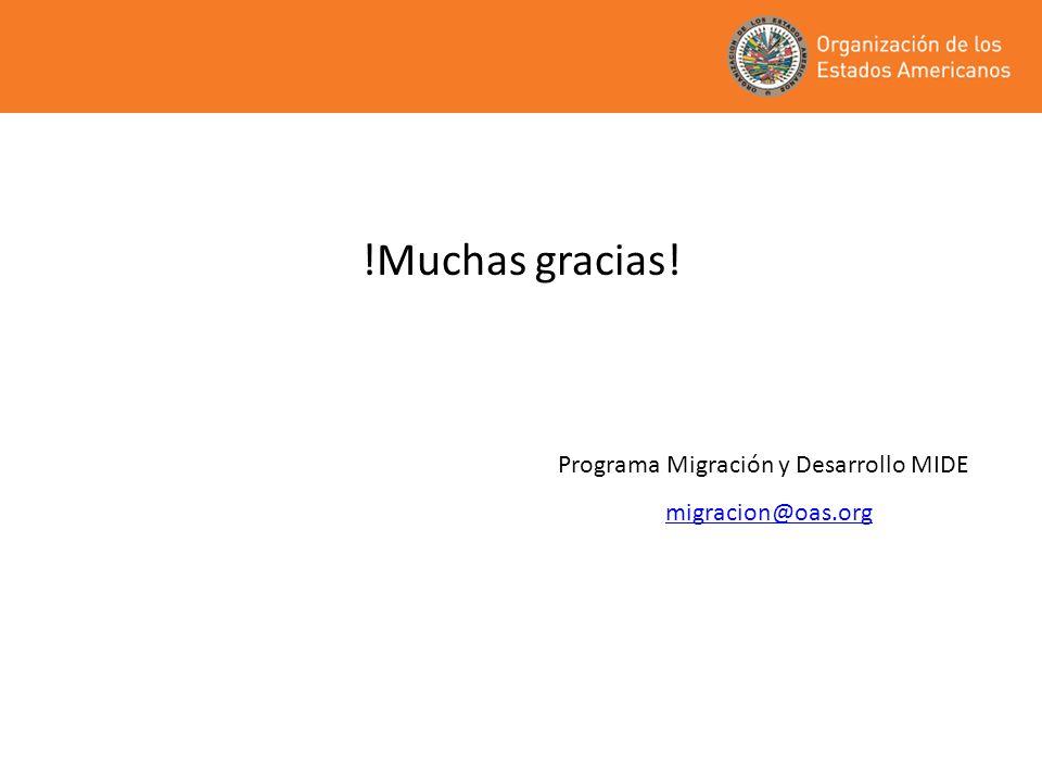 !Muchas gracias! Programa Migración y Desarrollo MIDE