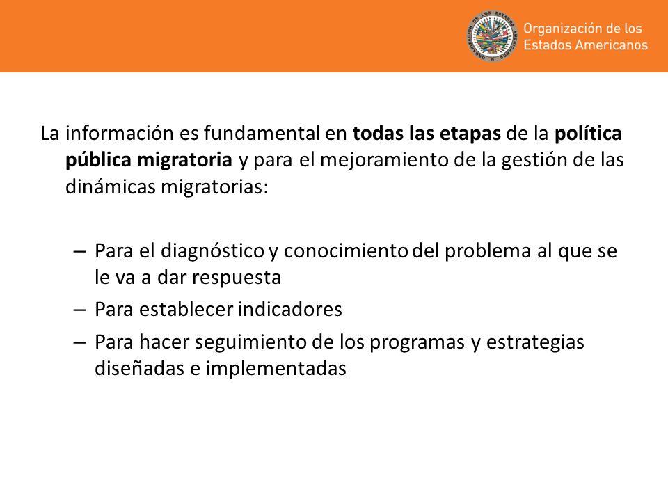 La información es fundamental en todas las etapas de la política pública migratoria y para el mejoramiento de la gestión de las dinámicas migratorias: