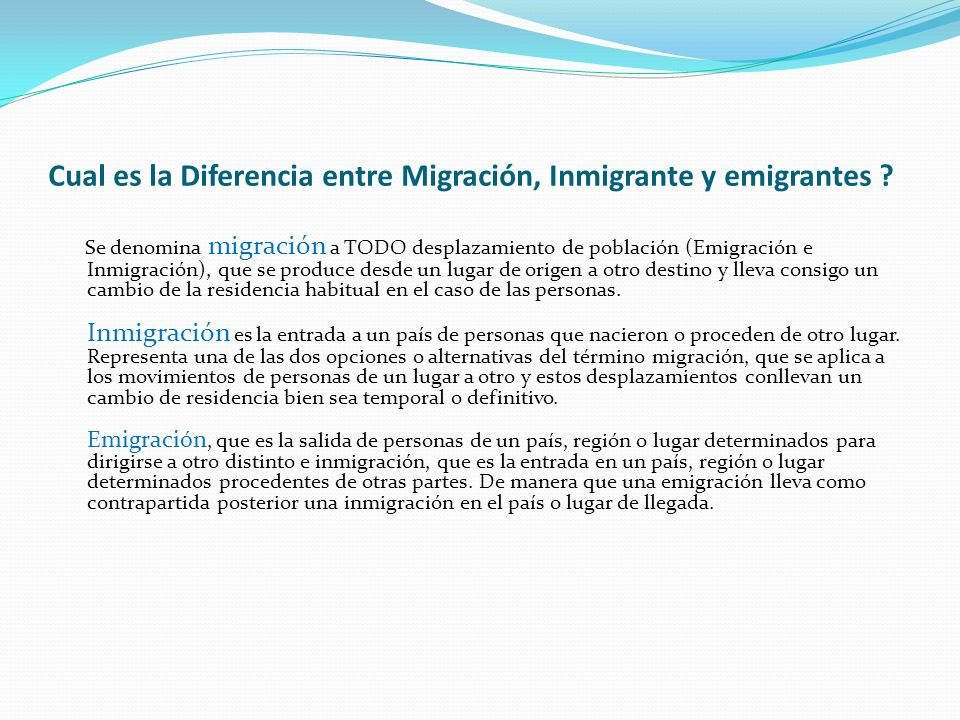 Cual es la Diferencia entre Migración, Inmigrante y emigrantes