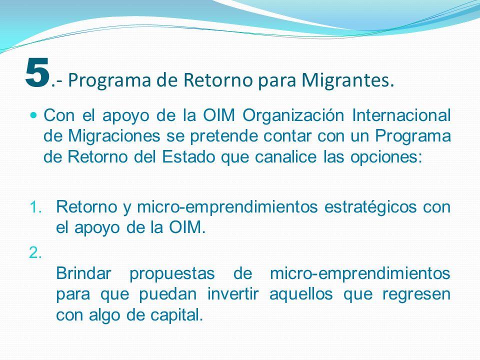 5.- Programa de Retorno para Migrantes.