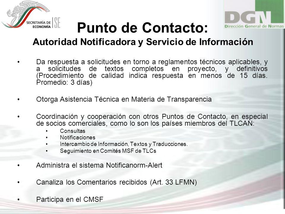 Punto de Contacto: Autoridad Notificadora y Servicio de Información