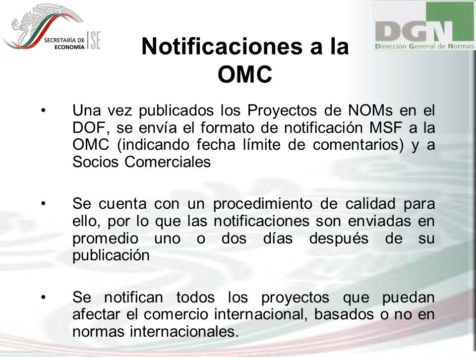 Notificaciones a la OMC