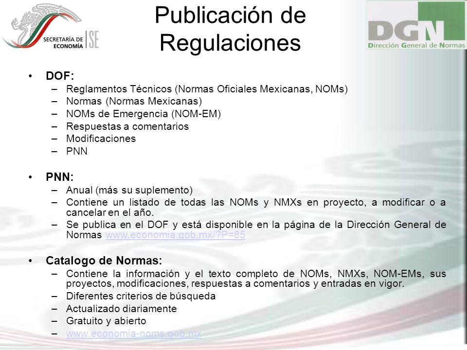 Publicación de Regulaciones