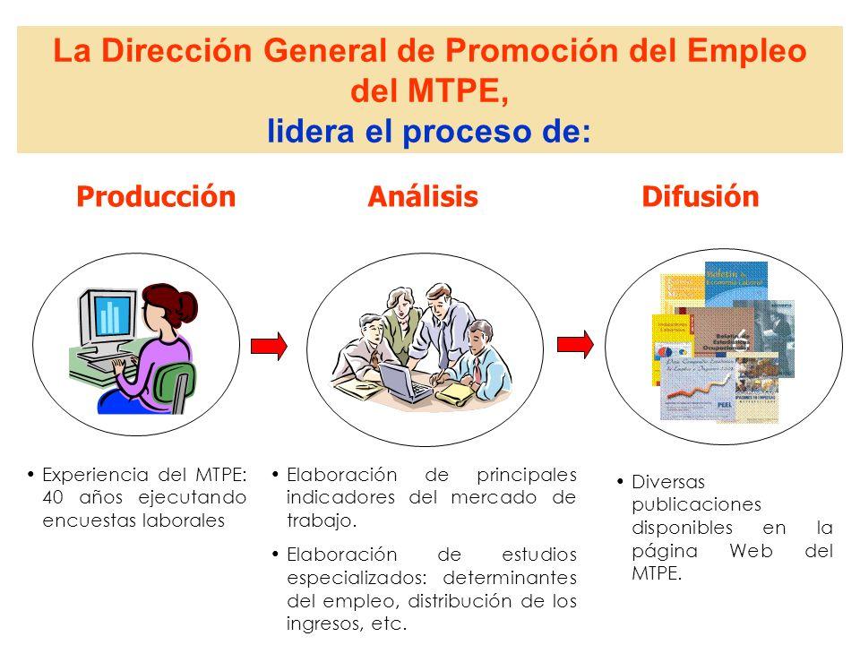 La Dirección General de Promoción del Empleo del MTPE, lidera el proceso de: