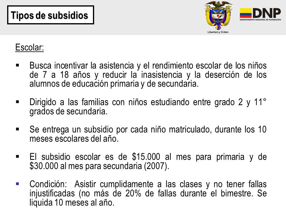 Tipos de subsidios Escolar:
