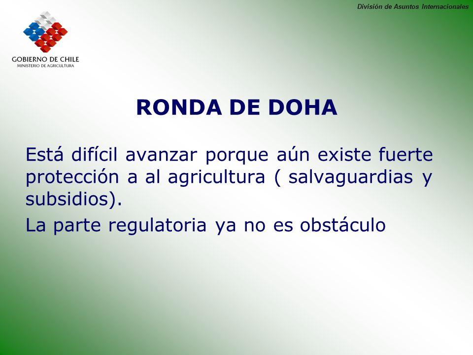 RONDA DE DOHA Está difícil avanzar porque aún existe fuerte protección a al agricultura ( salvaguardias y subsidios).