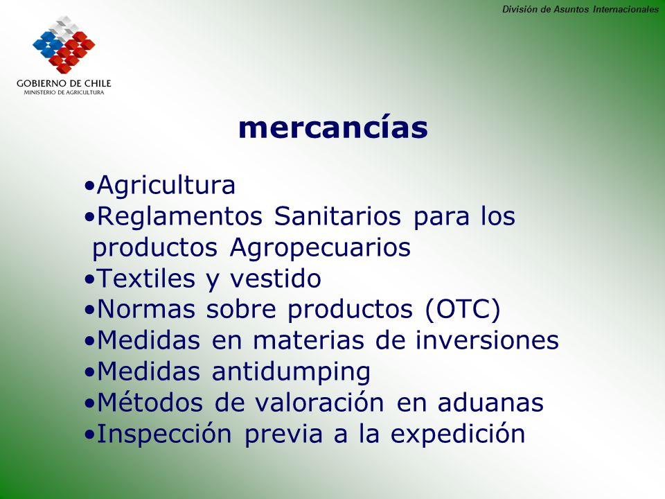 mercancías Agricultura Reglamentos Sanitarios para los
