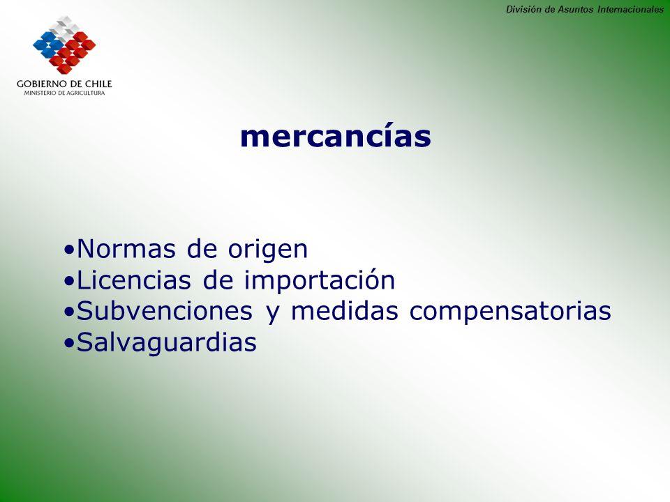 mercancías Normas de origen Licencias de importación