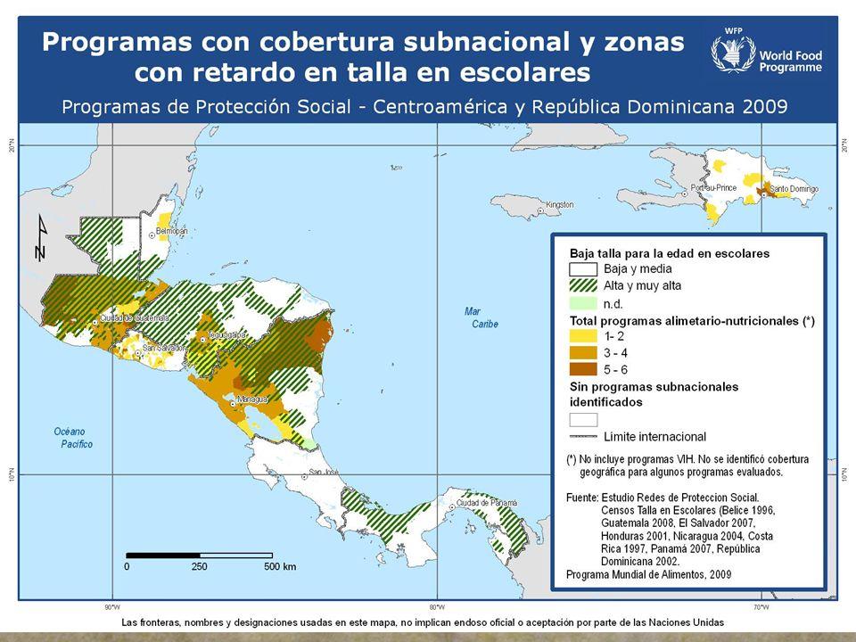En Costa Rica, no se observan programas de nivel subnacional debido a que la mayoría tiene cobertura nacional o subnacional muy focalizada que no permite su apreciación en mapas a la escala presentada y sus prevalencias de desnutrición son muy bajas.